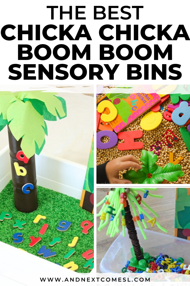 Chicka Chicka Boom Boom sensory bins for toddlers and preschoolers
