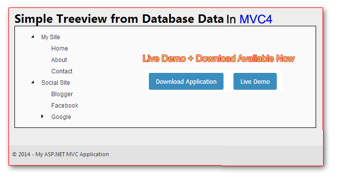 How to create treeview with database data in MVC 4 application