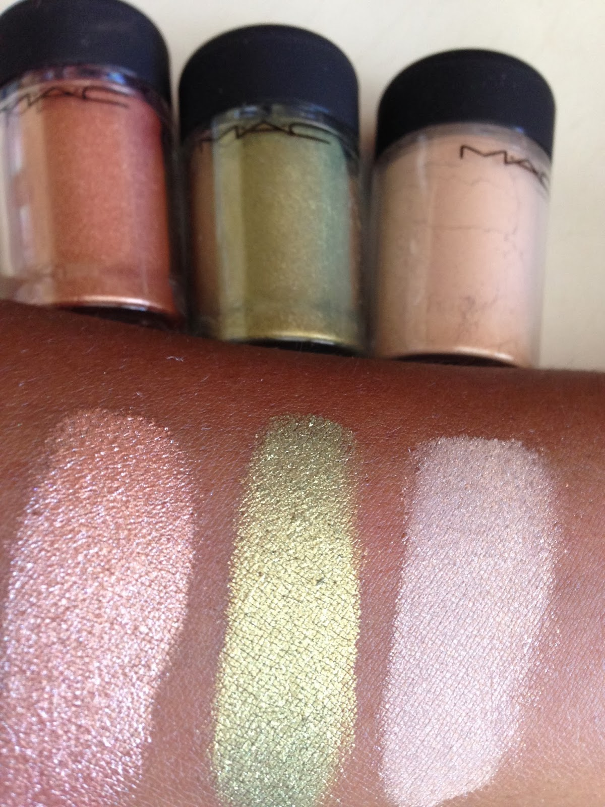 M.A.C 'Naked', 'Golden Olive' and 'Tan' Pigment swatches - www.modenmakeup.com