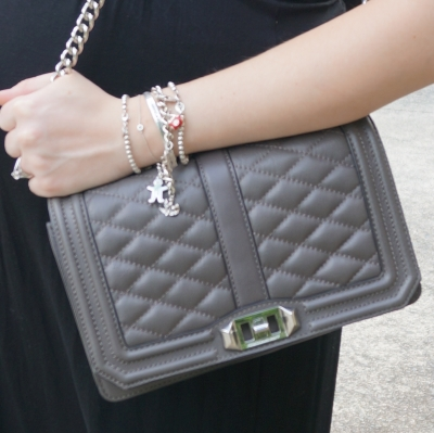 AwayFromTheBlue | Rebecca Minkoff Love cross body bag in grey silver bracelet stack