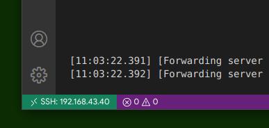 Informsi bahwa VS Code sudah terhubung ke server melalui SSH
