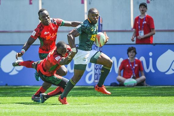 Siviwe Soyizwapi of South Africa during the match between Kenya and South Africa at the HSBC Paris Sevens