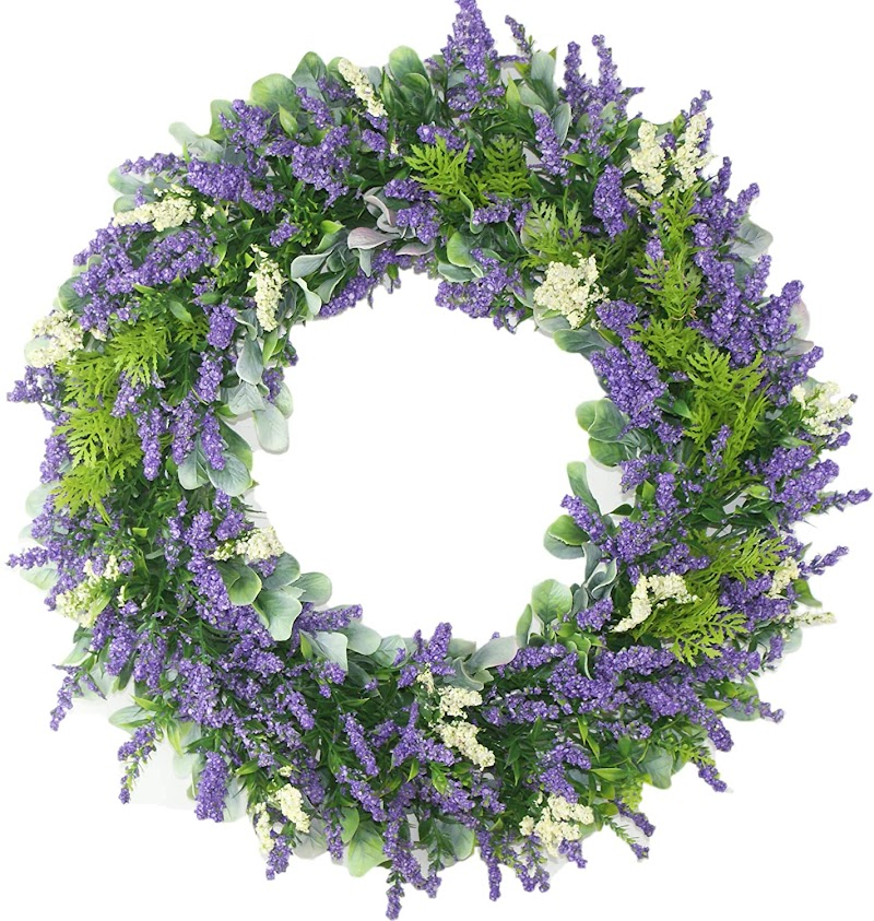 50% Off  16.8'' Wreath, Artificial Lavender Wreath, Door Wreath