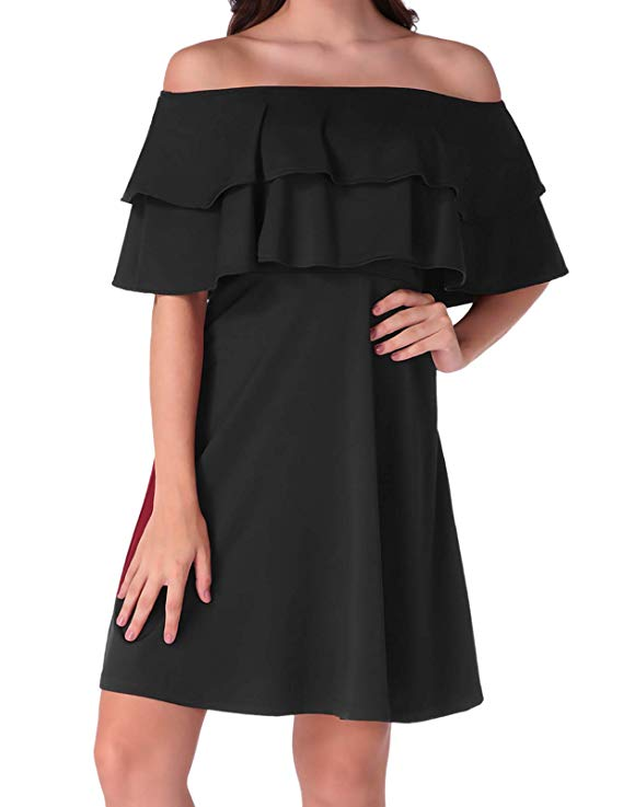 80% off Women's Elegant Off The Shoulder Flare Skater Dress,