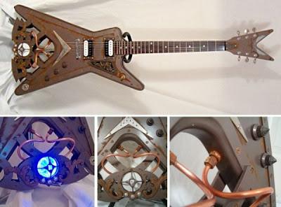 Guitarra eléctrica steampunk muy creativa