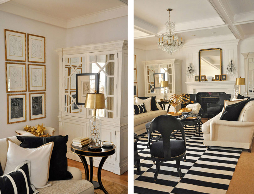 Black gold tones that beautify your home trends - Living room black and white theme ...