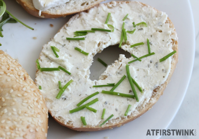 Bagel with herb butter and fresh chives