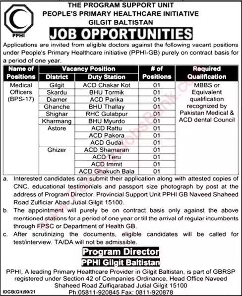 Latest Jobs in Pakistan PPHI Gilgit Baltistan Jobs 2021