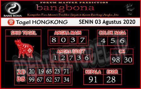 Prediksi Bangbona HK Senin 03 Agustus