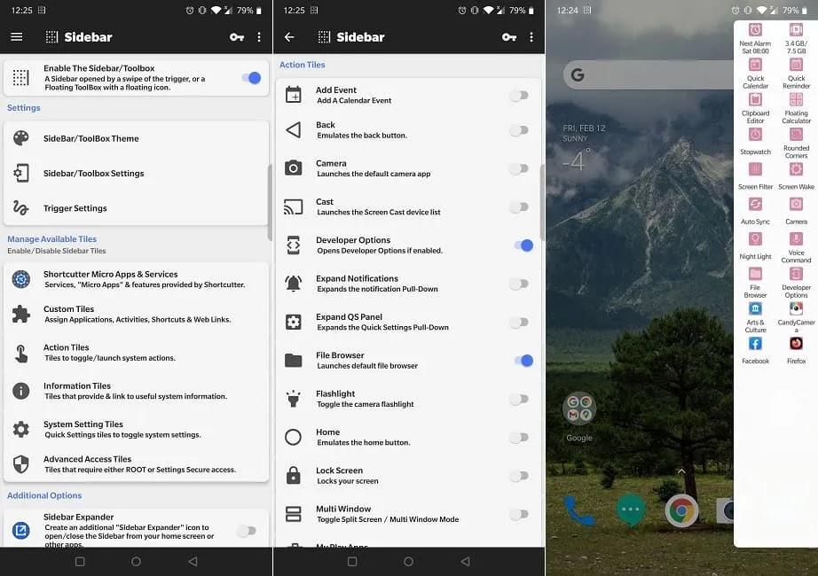 أفضل تطبيقات الإعدادات السريعة Android Bottom Shortcutter