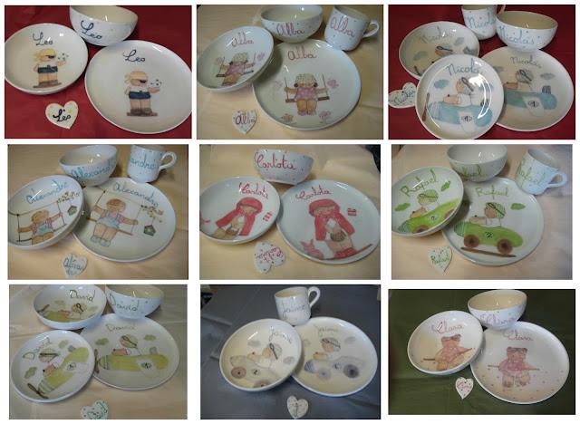vajillas infantiles de cerámica personalizadas