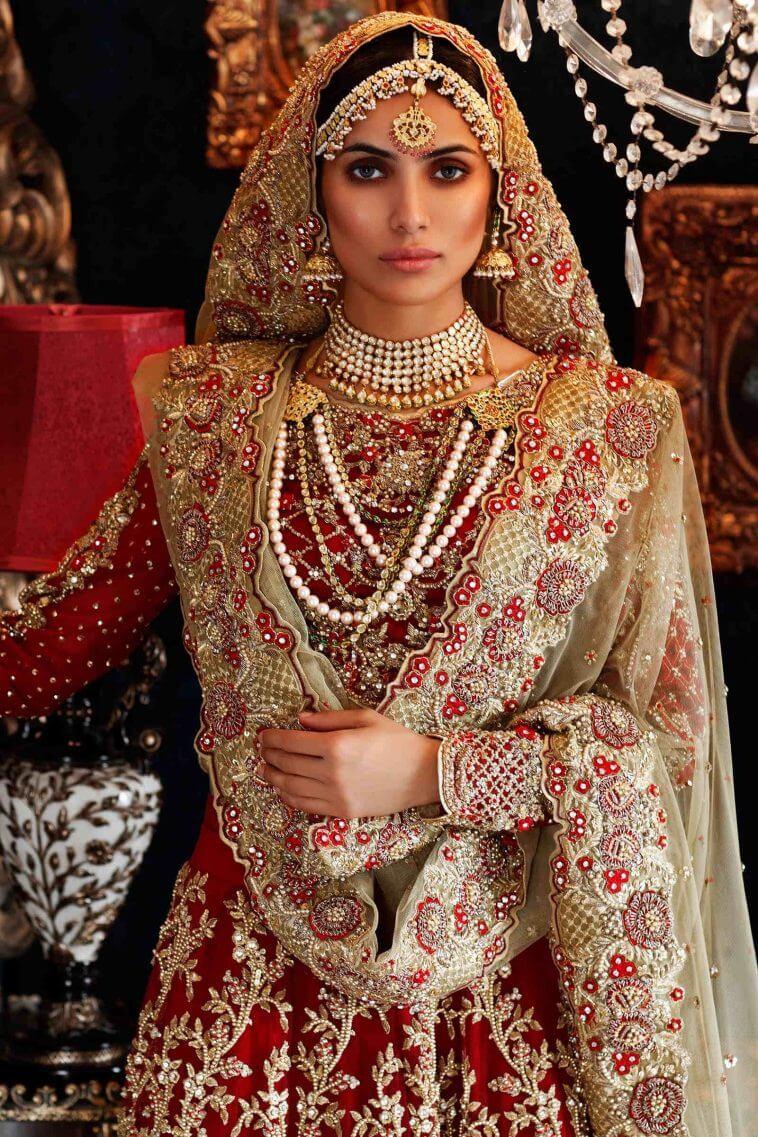 Maria B red bridal dress design collection for barat online