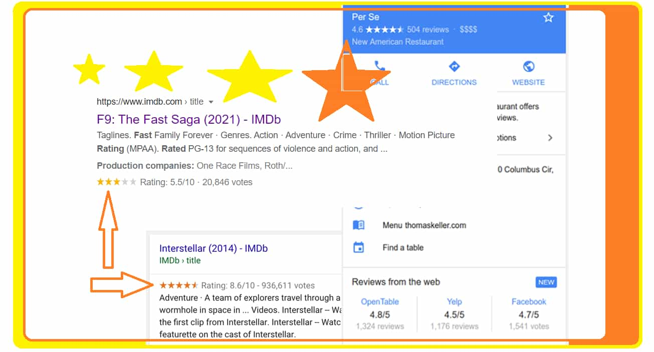 Movie Schema Review Star Rating Example in Google Search Result