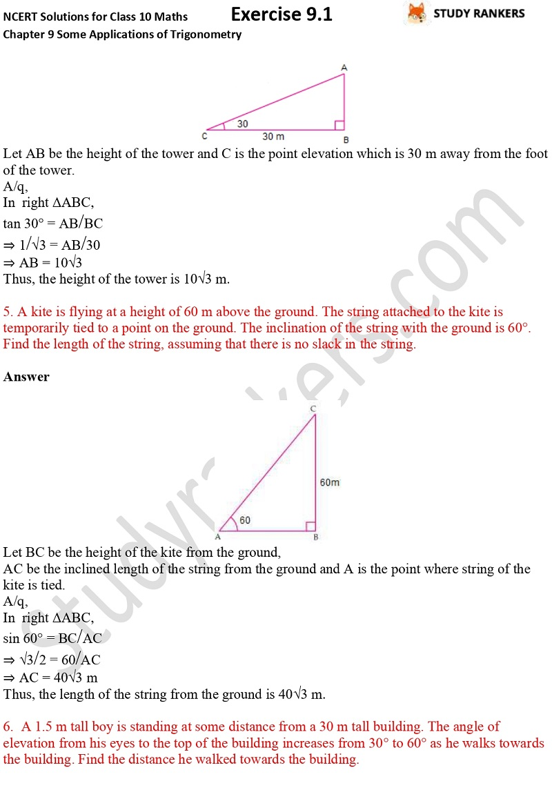 NCERT Solutions for Class 10 Maths Chapter 9 Some Applications of Trigonometry Exercise 9.1 Part 3