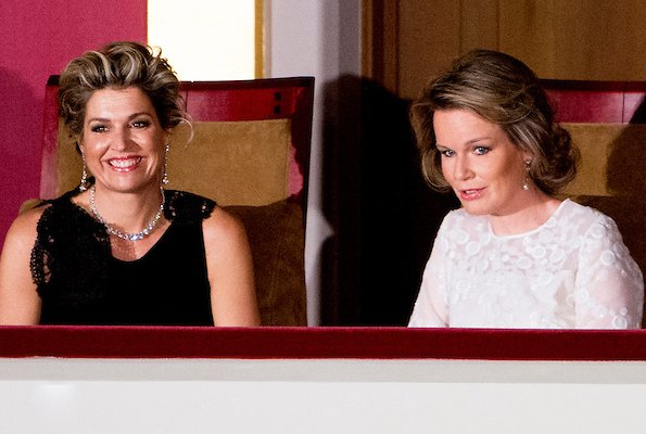 Queen Mathilde and Queen Maxima attend the finals of the Queen Elisabeth piano competition in Palace of Fine Arts. Queen Mathilde and Queen Maxima wore Natan Dress
