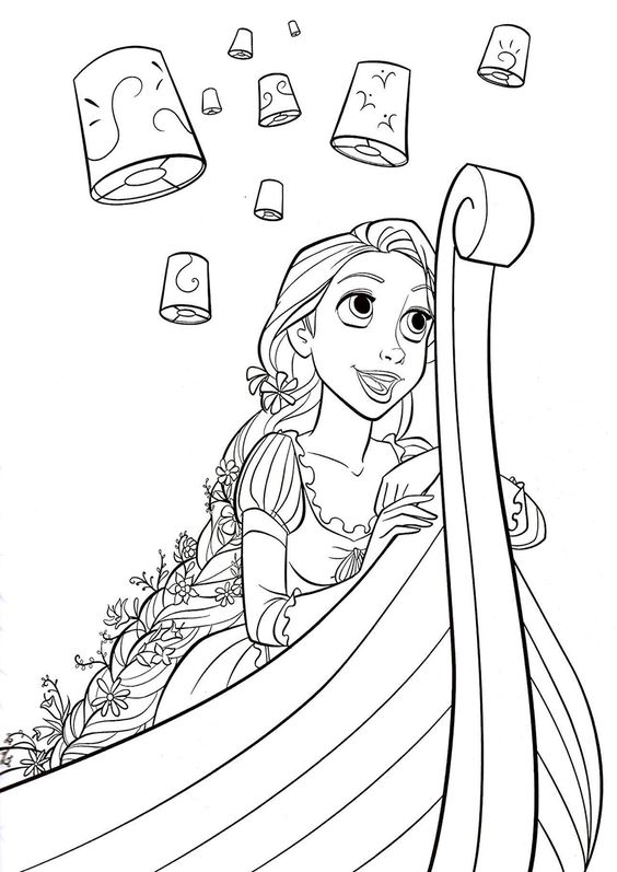 Tranh tô màu nàng công chúa tóc mây ngồi trên thuyền