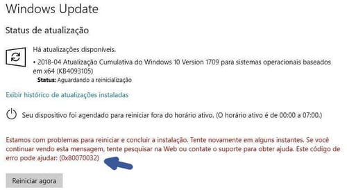 Como resolver o erro 0x80070032 do Windows Update