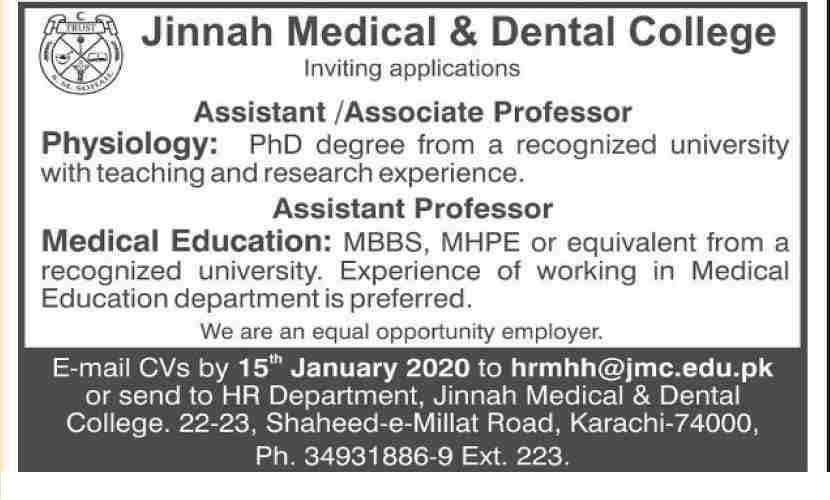 Jinnah Medical & Dental College Jobs 2020