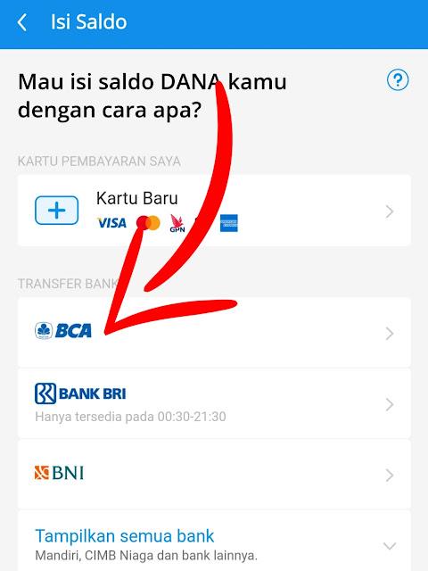 pilih isi saldo via bank BCA