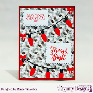 Stamp Set: True Light, Custom Dies: Christmas Lights, Scalloped Rectangles, Scalloped Squares, Paper Collection: Rustic Christmas
