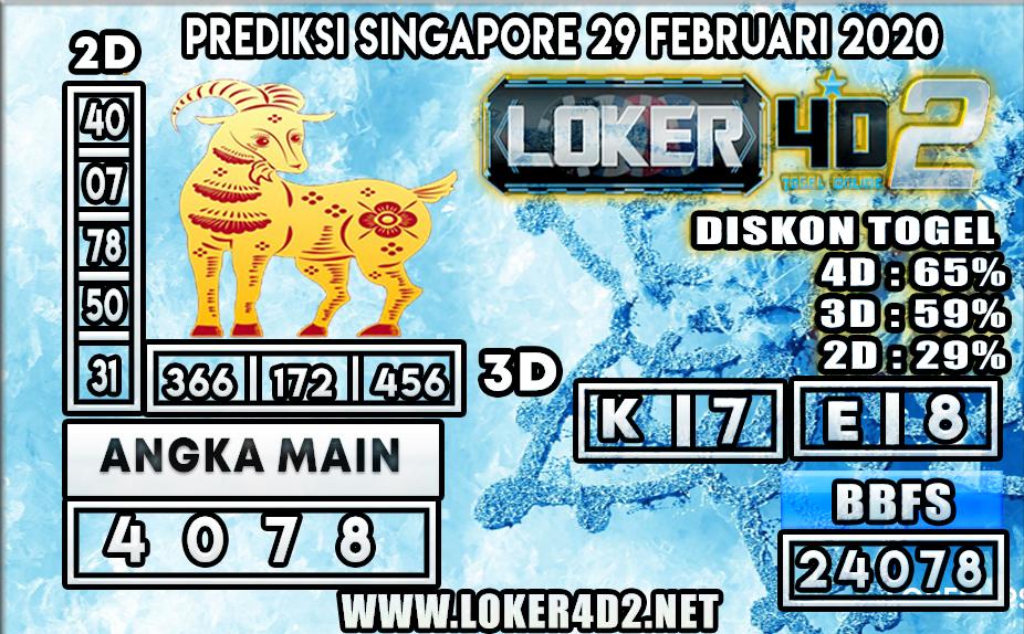 PREDIKSI TOGEL SINGAPORE LOKER4D2 29 FEBRUARI 2020