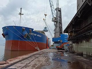 MV Fortune Miracle Bawa Muatan Susu Kacang Kedelai Sandar di Pelabuhan Belawan