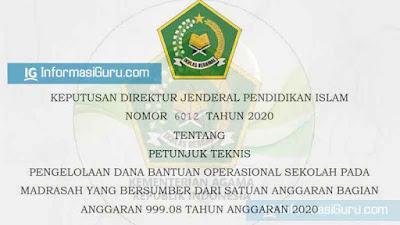 Download Juknis Pengelolaan Dana BOS Madrasah (BA BUN) yang Bersumber dari Satuan Anggaran Bagian Anggaran 999.08 Tahun Anggaran 2020 I PDF