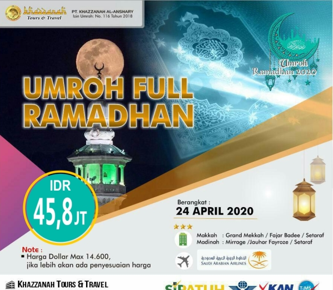 Paket Umroh APril Full Ramadhan 2020