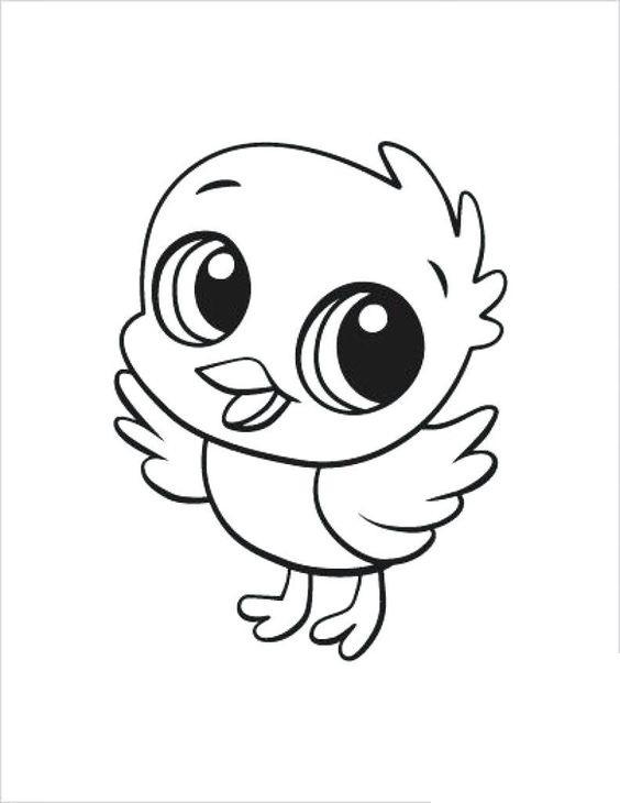 Tranh tô màu con chim dễ thương