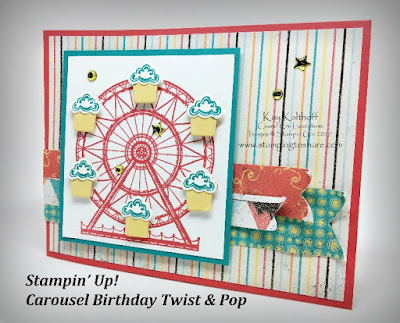 Carousel Birthday Twist & Pop Card with Side Panels by Kay Kalthoff, Stamping to Share