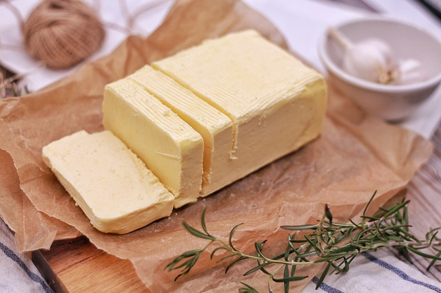 Block of Real Butter Cut Into Slices