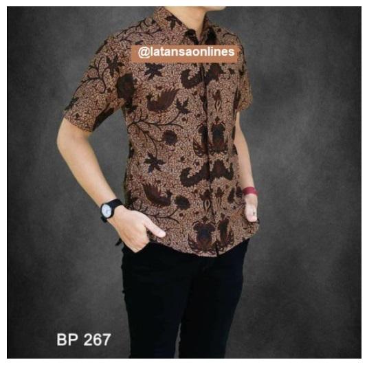 Batik Sogan Jalu Pria Lengan Pendek Warna Coklat Paling Laris di Shopee