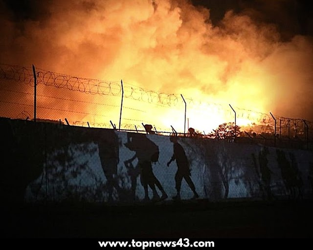 Fire In The Refugee Camp Moria In Greece - TopNewS43
