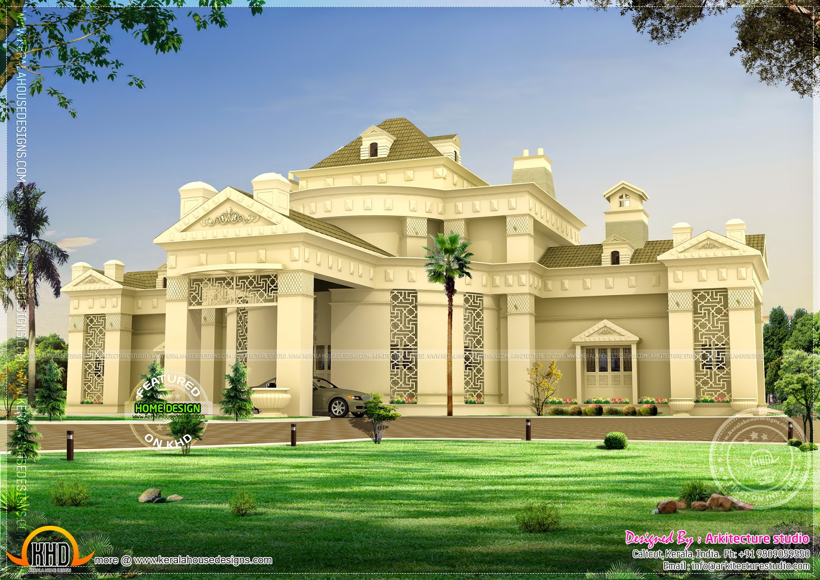 Unique super luxury home kerala home design and floor plans for Luxury farmhouse plans