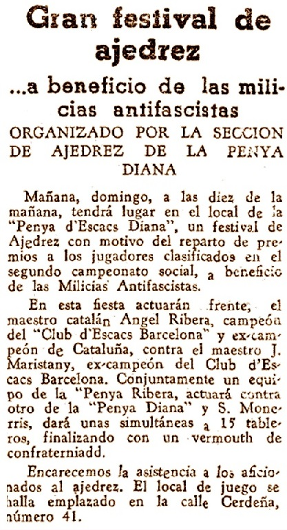 Recorte de El Mundo Deportivo, 3/10/1936
