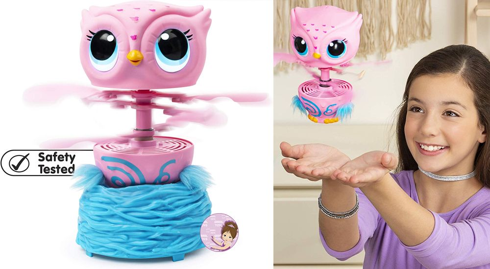 Flying owl toy Owleez of pink color