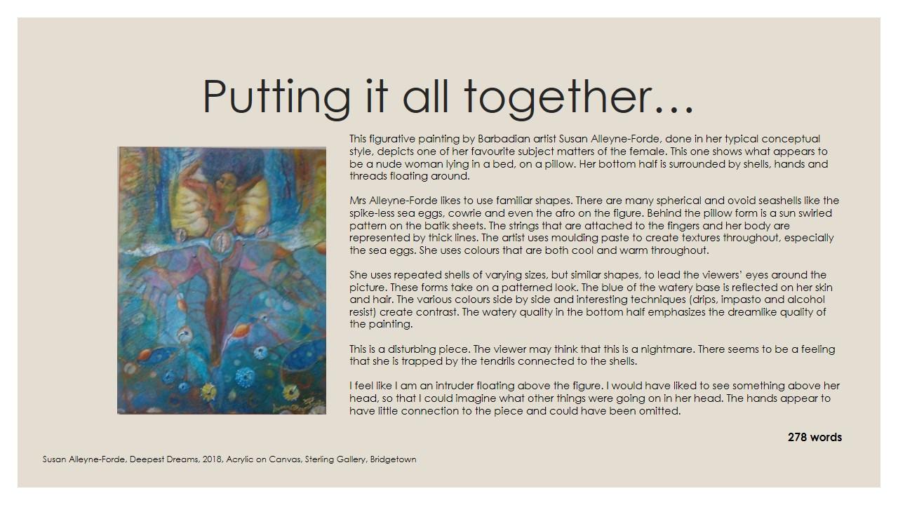 Describing Art For The Csec Visual Arts Reflective Journal Art Pulse