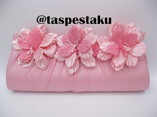 Clutch Bag Tas Pesta Baby Pink Model Bunga