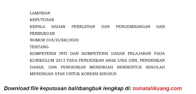 Kompetensi Inti & Kompetensi Dasar Pelajaran Kurikulum 2013 untuk PAUD TK SD SMP SMA untuk Kondisi Khusus tomatalikuang.com