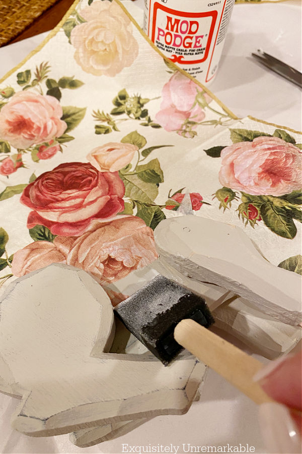 Patching Napkins In Decoupage