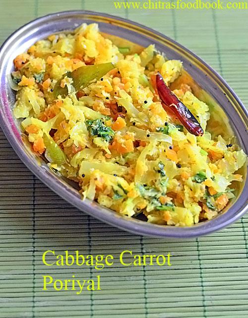 Cabbage carrot poriyal