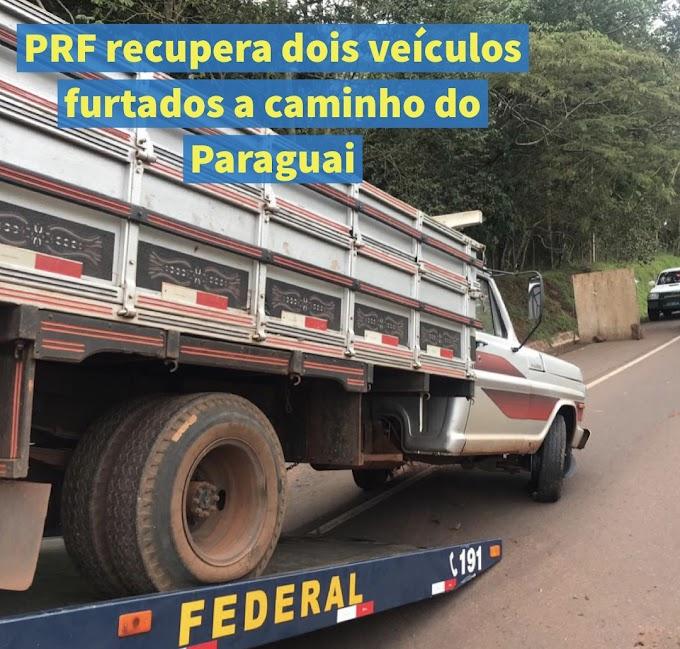 PRF recupera dois veículos furtados a caminho do Paraguai