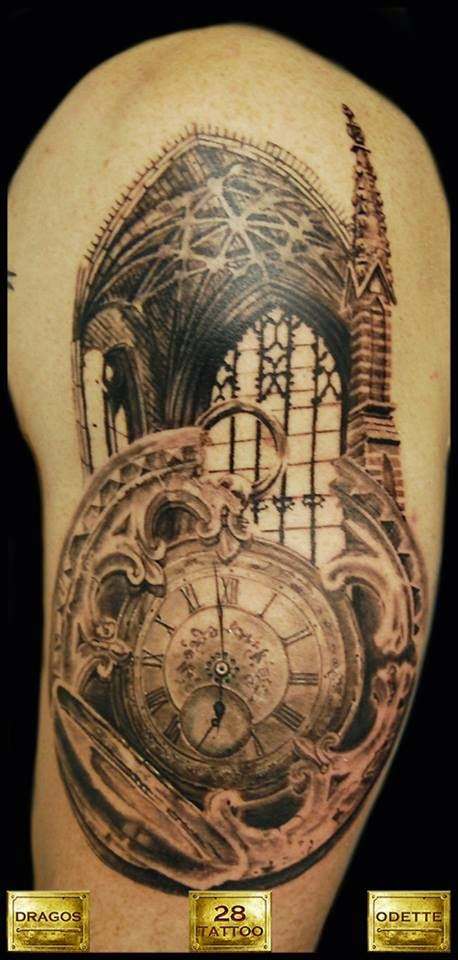Black And Grey Tattoo Work In Progress By Dragos Odette Gothic Cathedral Round Window Old Pocket Watch