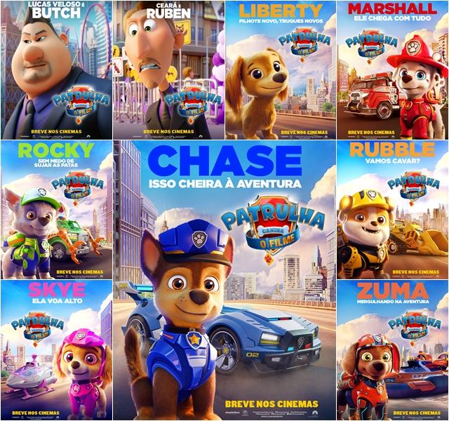 CINEMA: Paramount divulga cartazes com os personagens de 'Patrulha Canina – O Filme'