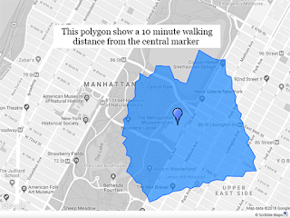 Isochrone map showing 10 minute walking distance in New York