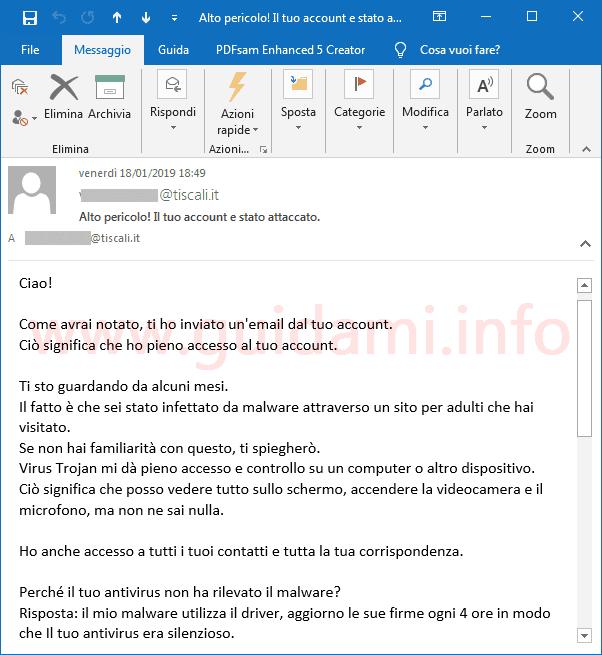 Messaggio email ricevuto su Outlook 2016