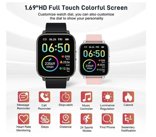 Rinsmola P32E Fitness Tracker 1.69 Touch Screen Smartwatch