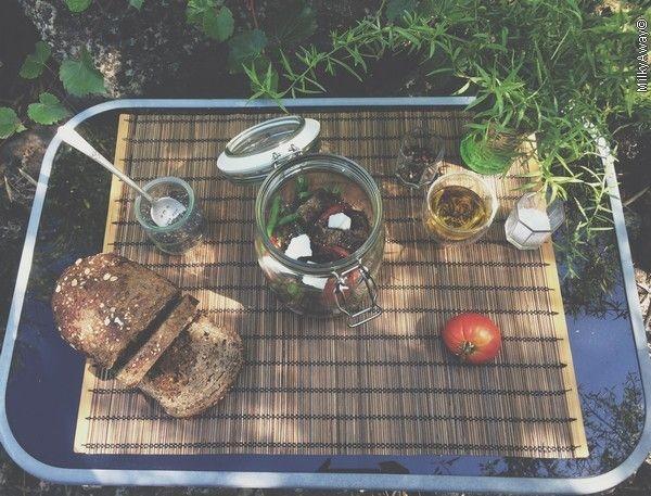 Recette Markal salad jar de haricots verts parsemés de graines de chia
