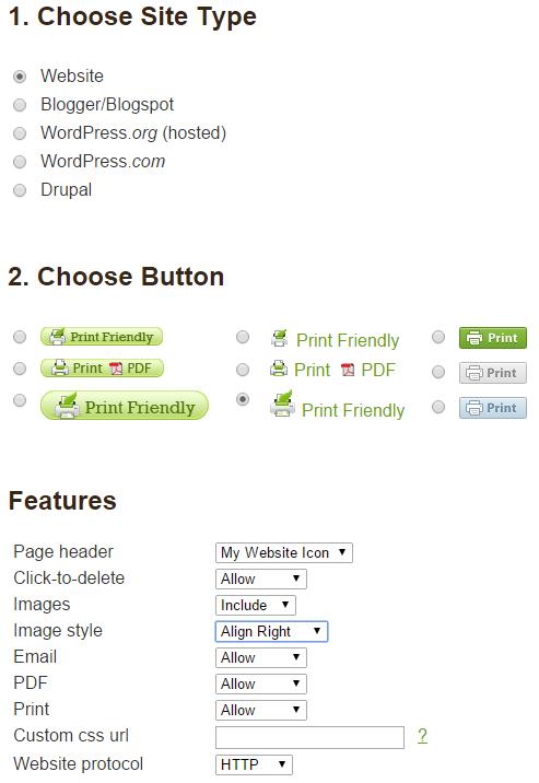printfriendly options