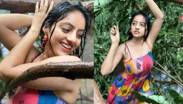 Indian Actress Deepika Singh Photoshoot in Rain with a Tree Falling in Strom
